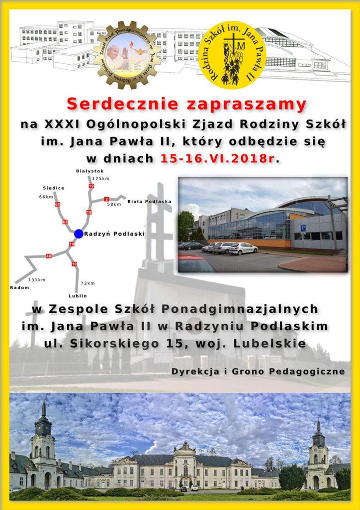 Zaproszenie na XXXI Ogólnopolski Zjazd Rodziny Szkół im. Jana Pawła II – Radzyń Podlaski