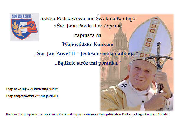 """Wojewódzki Konkurs """"Św. Jan Paweł II – Jesteście moją nadzieją."""" """"Bądźcie stróżami poranka."""""""
