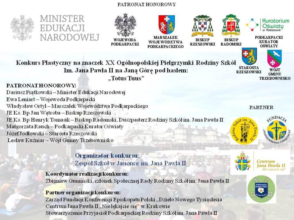 Ogólnopolski Konkurs Plastyczny na znaczek XX Pielgrzymki Rodziny Szkół im. Jana Pawła II na Jasną Górę